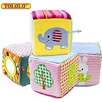 TOLOLO 動物がらがらおもちゃ 4個 ベビー布製ソフト 組み立てブロック 安全ミラーキューブ おもちゃセット