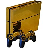 Honbay? Gold Glossy Decal Skin Sticker for Playstation 4 PS4 Console+Controllers