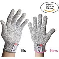 Jazziezhop Chefs Choice No1 in Mandoline Glove Oyster Shucking Level 5 Protection Women's Pink cuff Men Gray sizes LandM 2 pair Cut Resistant Glove Food Grade Safety Cut Proof Kitchen Cooking Food Prep Butcher
