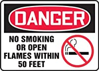 Accuform MSMK121XT Dura-Plastic Sign LegendDANGER NO SMOKING OR OPEN FLAMES WITHIN 50 FEET 7 Length x 10 Width x 0.060 Thickness Red/Black on White [並行輸入品]