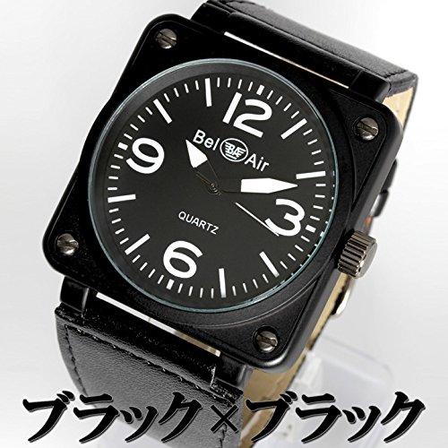 AC-W-OSD15-L レザーベルト スクエアビッグフェイス ミリタリー メンズ腕時計 Bel Air collection[ベルエアコレクション] ブラック&ブラック