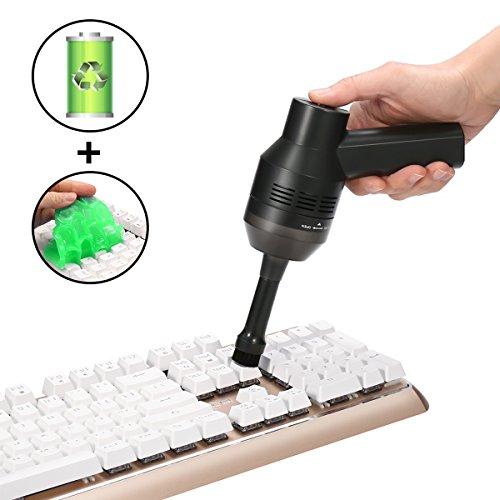 ミニクリーナー MECO USBミニノートPCキーボード掃除機 クリーナー集塵装置 卓上ブラシ 進化版 USB充電式 2000mAh電池搭載 毛髪収集可能 ハンディクリーナー (二種類の吸い口+1キーボードクリーニングゲル付き)除塵 ノートパソコ キーボード ワープロのお掃除に
