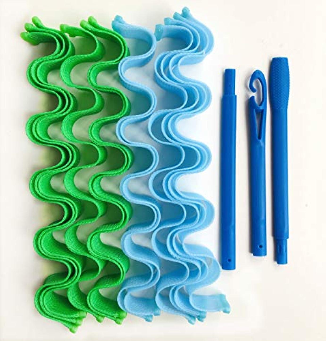 セミナーラテン相互AFAEF HOME 24個(50センチメートル)ウェーブヘアーカーラーローラー、媒体へのロングヘアヘアスタイリングツールヒートレス水リップルカーラーマジックヘアローラー (Size : Twenty-four blue...