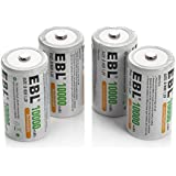 EBL 4 Pack D Size 10,000mah High Capacity High Rate D Cell NiMH Rechargeable Batteries, Storage Cased Included