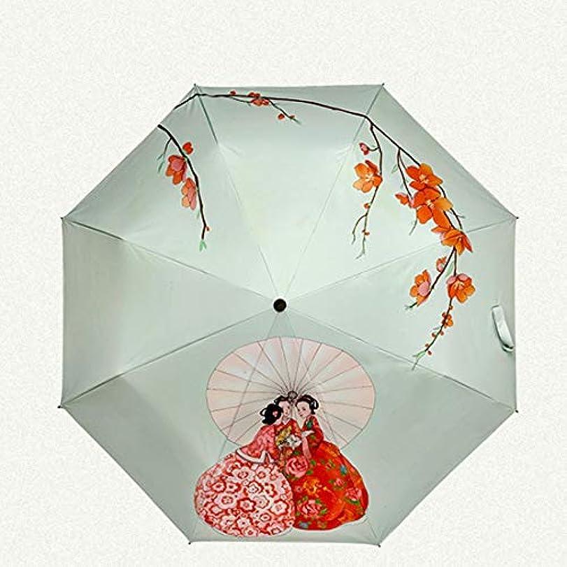 第有限私HOHYLLYA プリント女性の折りたたみ日傘小さなポータブル屋外旅行傘防風防水傘用女性倒立傘 sunshade (色 : オレンジ)