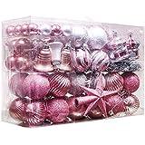 Valery Madelyn 100個 セット クリスマスツリー オーナメント ロマンティック 豪華 おしゃれ シルバー ピンク エレガント シック クリスマスツリー 飾り デコレーション 装飾