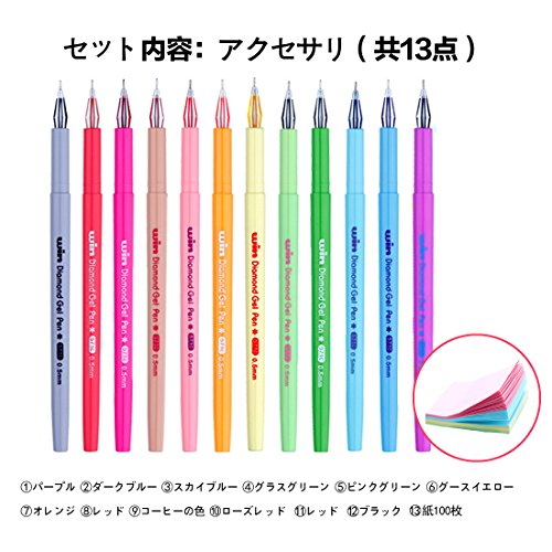 [해외]중립 펜 다이아몬드 중립 펜 홀더 한국어 귀여운 컬러 크리 에이 티브 문구 (블랙 리필) + 주   편리한 스티커 쓰기 100/Neutral Pen Diamond Neutral Pen Holder Korean Cute Color Creative Stationery (Refill Black) + Notes   Send a Useful St...