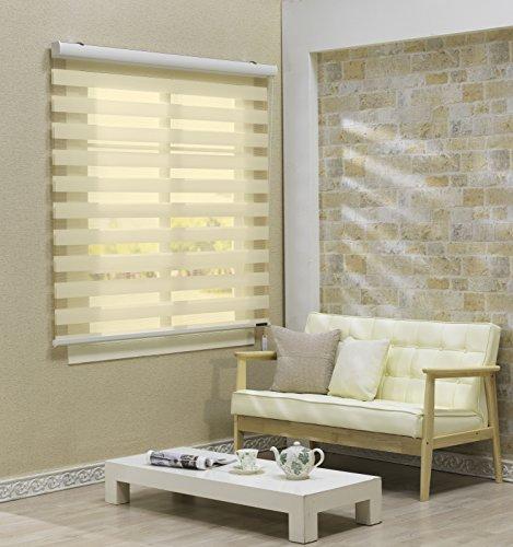 サイズ オーダーメイド , [Winsharp Basic , beige , W 150 x H 150 (CM)] 調光ロールアップ スクリーン 窓 プリーツ ブラインド & カーテン 簾