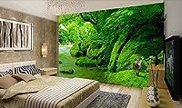 Ansyny 自然グリーンフォレストクリークテレビ背景壁紙壁画不織布家庭用装飾-220X140CM
