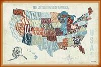 ポスター マイケル モーラン USA Modern Blue (Map) 額装品 ウッドベーシックフレーム(オレンジ)