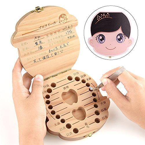 乳歯ケース 木製 日本語 名入れ カラー印刷 女の子 乳歯入れ プレゼント用 箱付き