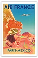 パリ - メキシコダイレクト - エアフランス - マヤ遺跡 - ビンテージな航空会社のポスター によって作成された S. プラウト c.1952 - アートポスター - 31cm x 46cm