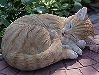 Cat Sleeping Lying Down Statue–オレンジTabby