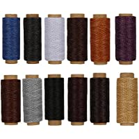 RMTIME 蝋引き糸 ロウ引き糸 ワックスコード 手縫い 手芸 紐 DIY レザークラフト 糸 よく使うカラー12個セット 1mm直径 長さ50m