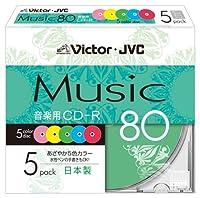 Victor 音楽用CD-R 80分 カラープリンタブル 5枚 CD-A80XR5