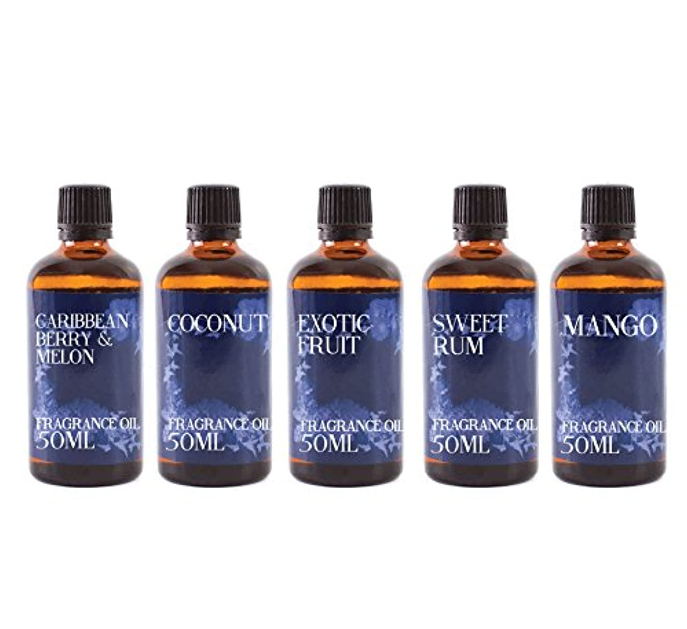 人道的見かけ上可動式Mystic Moments | Gift Starter Pack of 5 x 50ml Desert Island Fragrant Oil