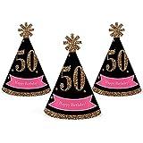 シック50th誕生日 – ピンク、ブラックとゴールド – Mini円錐Birthday Party Hats – Small Little Party Hats – 10のセット