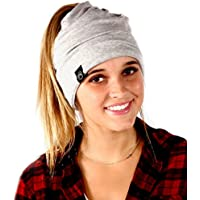 Peek a Boo Women's Beanie Slouchy Beanie with Hole for Pony Tail or Sloppy Bun perfect for Work Out by Pretty Simple (Light Grey)