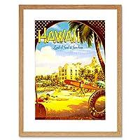 Hawaii Surf Beach Sunshine Waikiki Hotel Pacific Picture Framed Wall Art Print ビーチホテルパシフィック画像壁