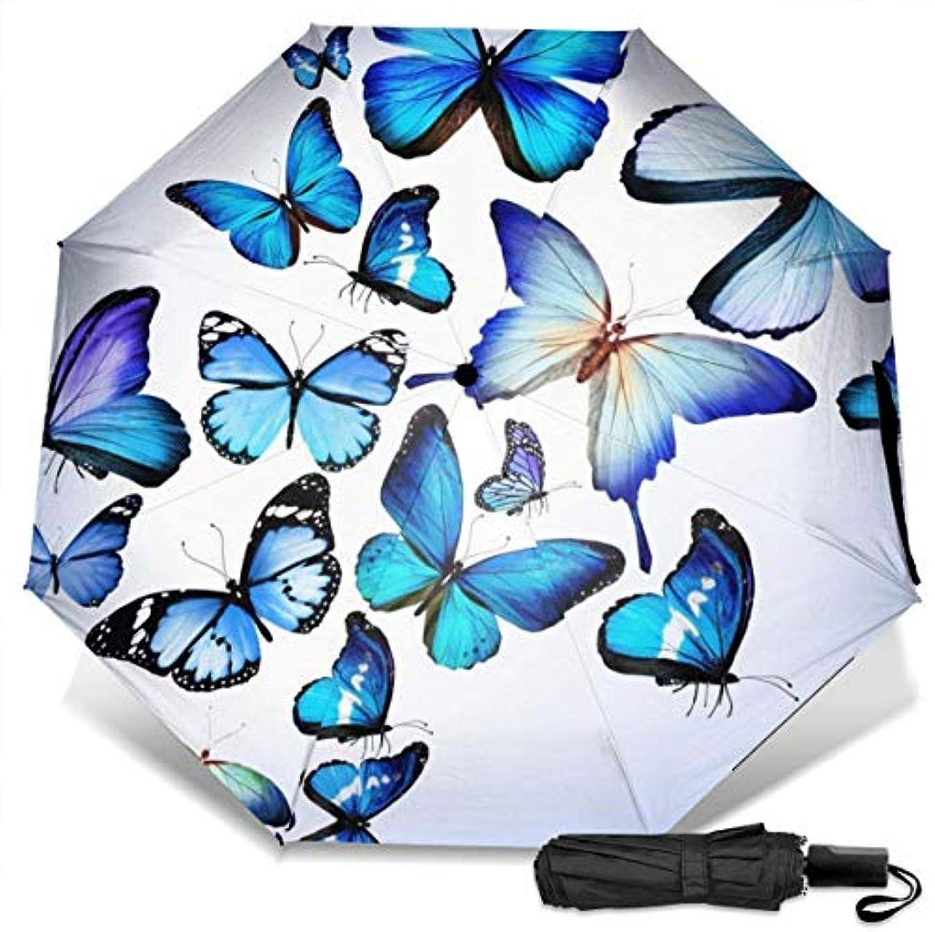 フリンジアコースキャンダル美しくて本物の青い蝶のアート折りたたみ傘 軽量 手動三つ折り傘 日傘 耐風撥水 晴雨兼用 遮光遮熱 紫外線対策 携帯用かさ 出張旅行通勤 女性と男性用 (黒ゴム)