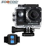 16GB TFカード+ HD 4k WIFIスポーツアクションカメラ、SOOCOO C30Rアクションカメラ防水20MP 170度広角スポーツビデオカメラ自転車ヘルメットカムdv 2液晶画面/2.4Gリモートコントロール+ 1pcs余分なバッテリー+ 1バッテリー充電器(黒)