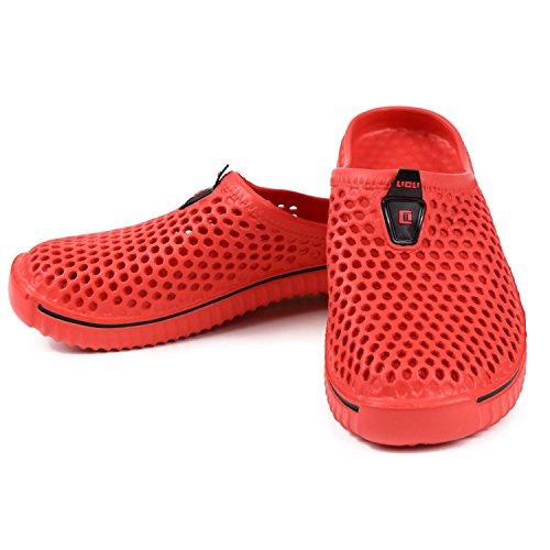 LICLI サンダル メンズ レディース 兼用 歩きやすい おしゃれ スポーツサンダル 洗える スリッパ 「 夏 だけでなく一年中快適 」「 超軽量 ビーチサンダル 」「 滑り止め 通気性 室内 履き替え 」 5カラー 10サイズ (23.5, レッド)