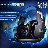 ペットPavilion KOTION EACH g2000over-ear Gameゲーム用ヘッドホンヘッドセットイヤホンヘッドバンドマイクステレオベースLEDライト付きPC用ゲーム黒とブルー
