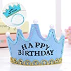 SOEKAVIA 子供用LED 王冠帽子 お誕生日 パーティー お祝い 演出飾り付け 目立つ光る ティアラ 飾り 多色 (ブルー HAPPY BIRTHDAY)