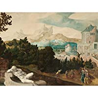 Jan Van Scorel Landscape With Bathsheba Painting Large Wall Art Poster Print Thick Paper 18X24 Inch 風景ペインティング壁ポスター印刷