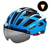 自転車 ヘルメット, VICTGOAL大人男女兼用 で磁気ゴーグルバ 超軽量 高剛性 サイクリング ロードバイク クロスバイク スポーツ 通気 サイズ調整可能 (新しい蓝)