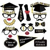 CC HOME 卒業パーティー用品 卒業写真ブース小道具 卒業式用ドレスアップアクセサリー 卒業式用キャップ 眼鏡 プラスチック製スティックに蝶ネクタイ 18個