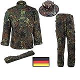 【FBFALCON】 ドイツ連邦軍 セット サバゲー 迷彩服 上下 ハット ベルト 国旗 ワッペン 4点セット XS~XXL (XS)