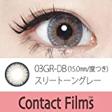 スリートーングレー  15.0mm コンタクトフィルム 1ヶ月用 度あり 1枚 UV加工カラコン Color Contact lens (-0.50)