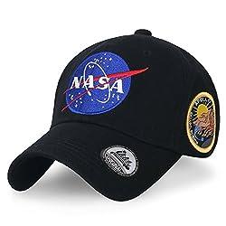(イリリリー) ililily NASA Meatball ロゴ エンブロイダリー ベースボール野球 キャップ Apollo 13 パッチ トラッカー 帽子 , Black