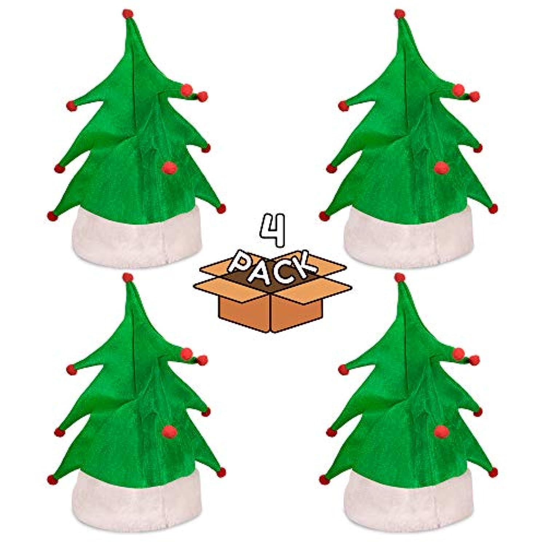 クリスマスツリーハット 大人と子供用 クリスマスツリーハット 4個パック