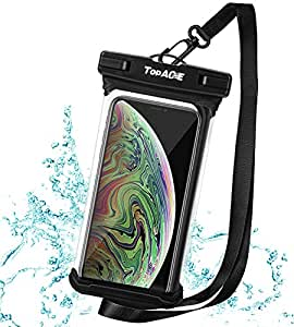 TOPACE 防水ケース スマホ用 防水携帯ケース 「顔認証 」 6.5インチ以下 iPhone XR/iPhone XS/iPod touch 7 / SONY XPERIA 1 / Google Pixel 3 lite XL Android等対応 IPX8防水規格 TPU素材採用 水中撮影 お風呂 海水浴 (ブラック)