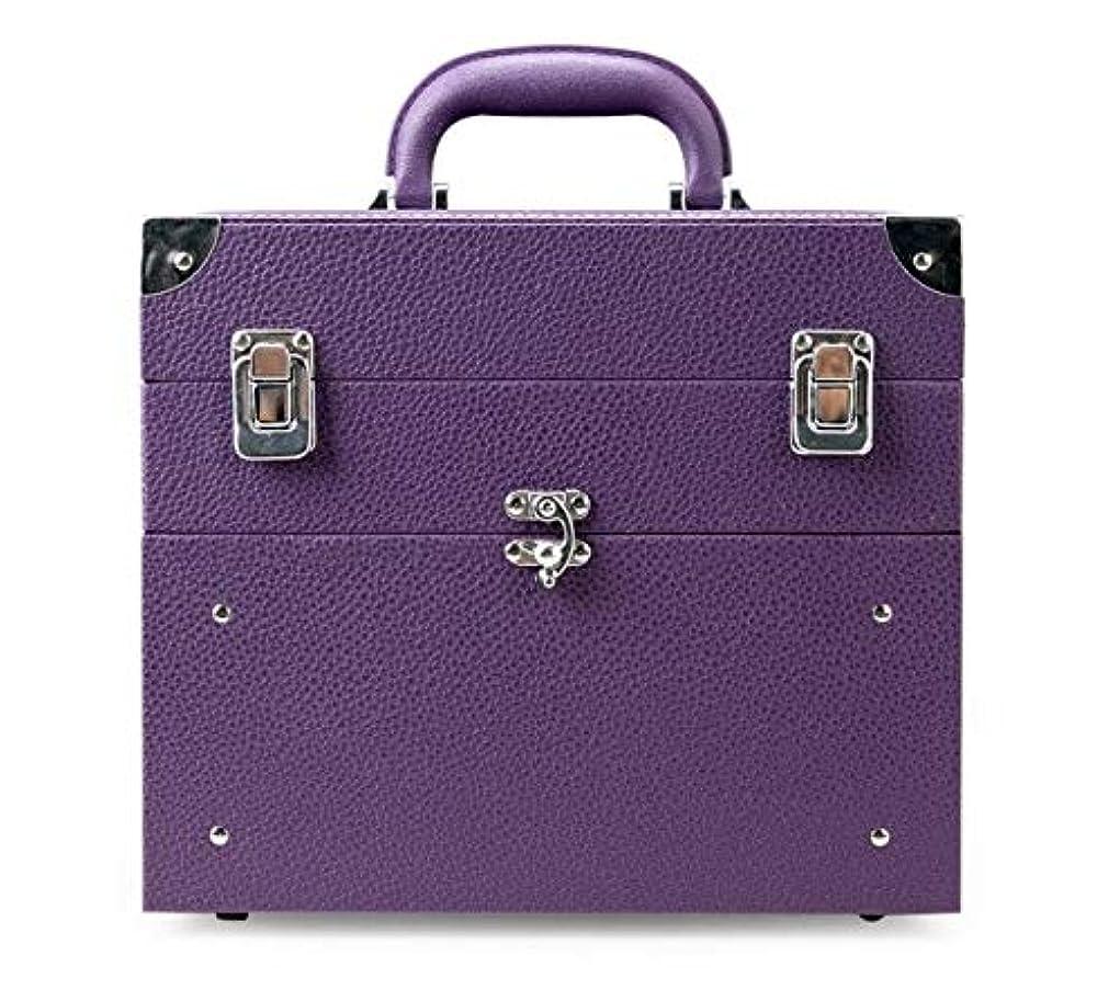 彼の毎回ちょっと待って化粧箱、大容量の二重層の携帯用化粧品の箱、携帯用旅行化粧品袋の収納袋、美の構造の釘の宝石類の収納箱 (Color : Purple)
