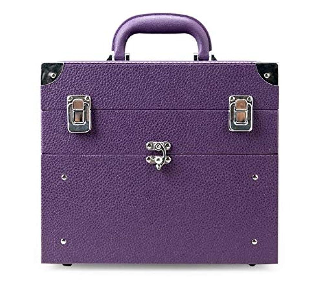 不道徳聖域監査化粧箱、大容量の二重層の携帯用化粧品の箱、携帯用旅行化粧品袋の収納袋、美の構造の釘の宝石類の収納箱 (Color : Purple)