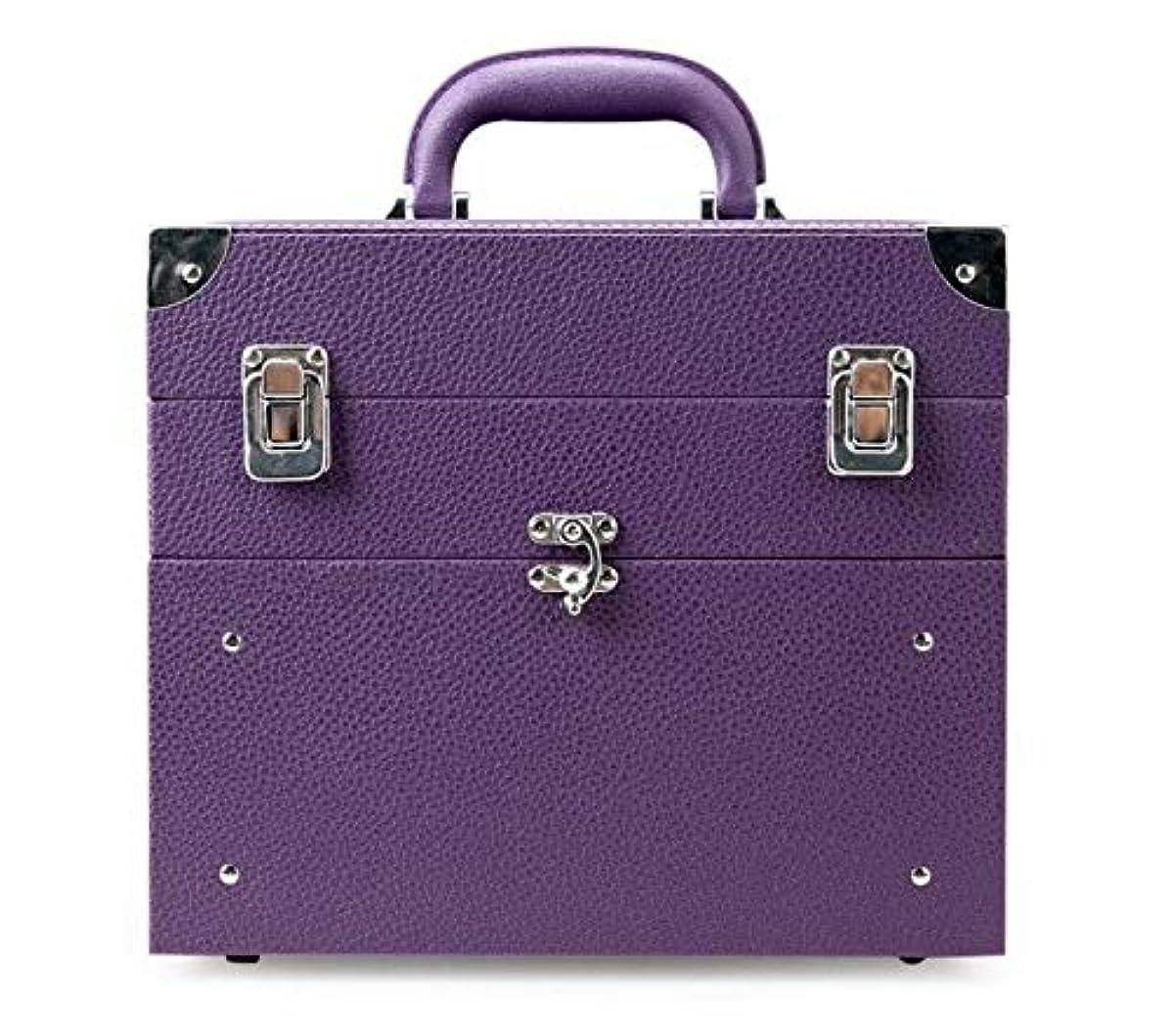 アナリストプラットフォーム意味のある化粧箱、大容量の二重層の携帯用化粧品の箱、携帯用旅行化粧品袋の収納袋、美の構造の釘の宝石類の収納箱 (Color : Purple)