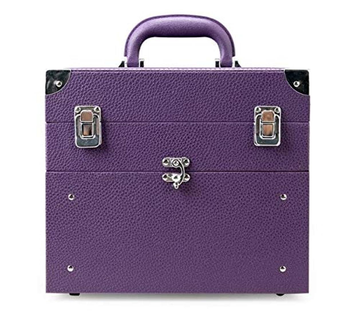 叫び声パイプライン有効化化粧箱、大容量の二重層の携帯用化粧品の箱、携帯用旅行化粧品袋の収納袋、美の構造の釘の宝石類の収納箱 (Color : Purple)