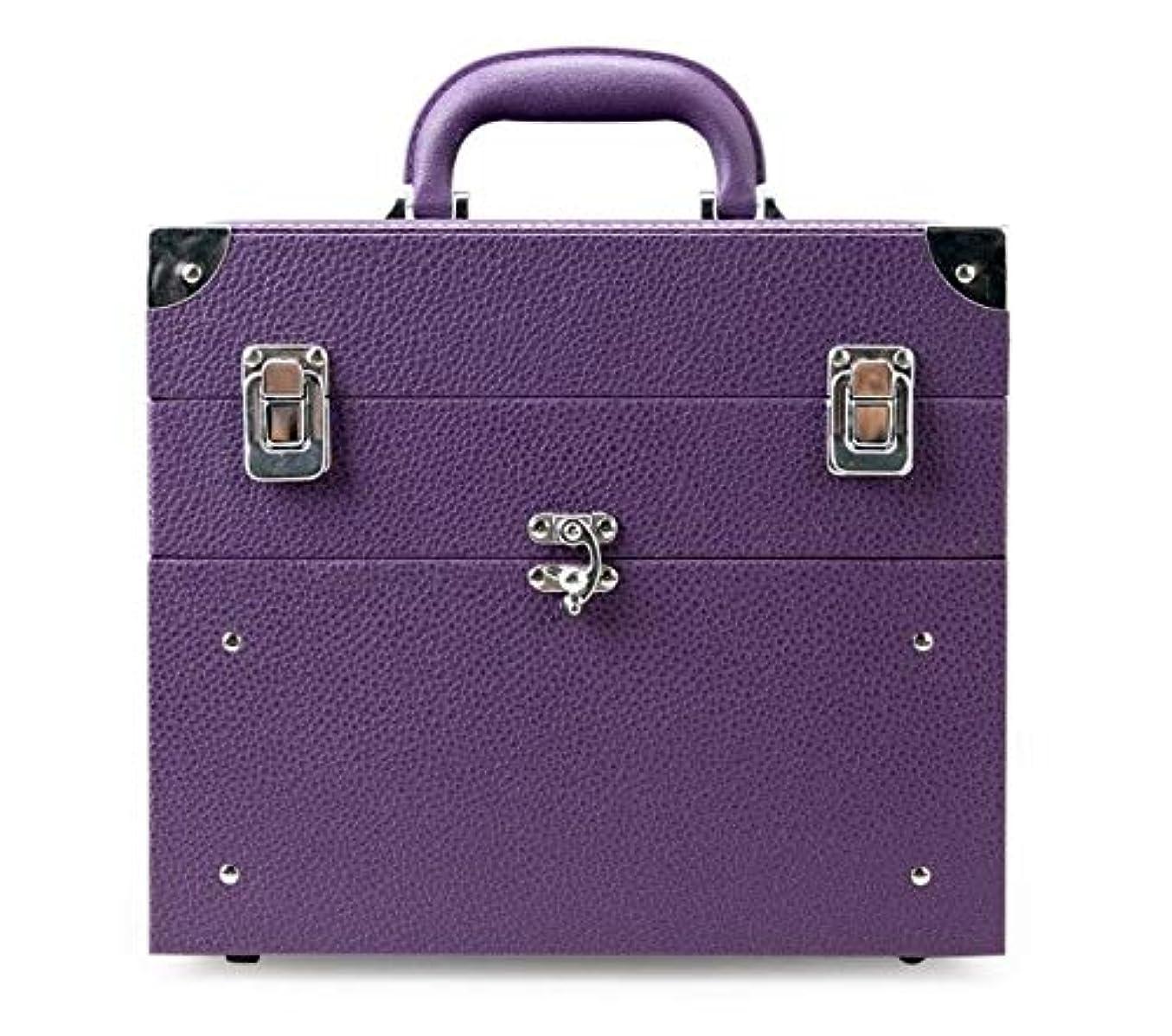 スケルトンフィヨルド密接に化粧箱、大容量の二重層の携帯用化粧品の箱、携帯用旅行化粧品袋の収納袋、美の構造の釘の宝石類の収納箱 (Color : Purple)