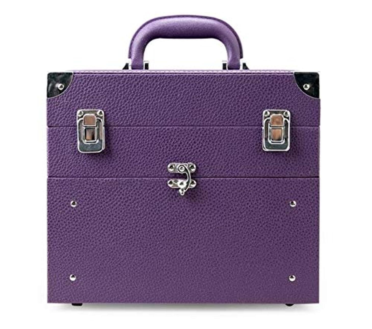 同様にバランスのとれた海里化粧箱、大容量の二重層の携帯用化粧品の箱、携帯用旅行化粧品袋の収納袋、美の構造の釘の宝石類の収納箱 (Color : Purple)