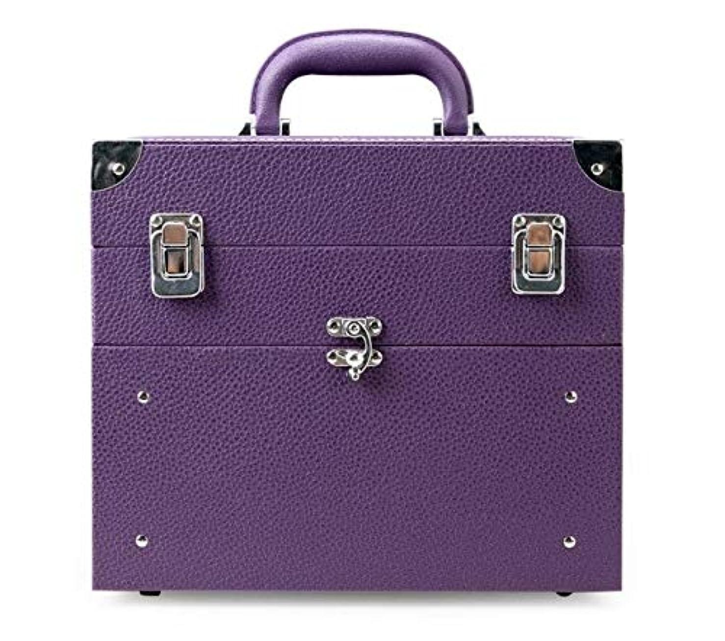 財政マリンワーカー化粧箱、大容量の二重層の携帯用化粧品の箱、携帯用旅行化粧品袋の収納袋、美の構造の釘の宝石類の収納箱 (Color : Purple)