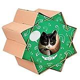 ダンボールハウス 猫屋 (こんぺいとう グリーン) 爪とぎ ハウス ダンボール おもちゃ ガリガリ スクラッチャー スクラッチハウス