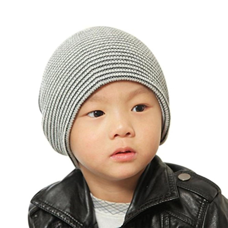 鋸歯状王族亡命MOM concern 。ベビービーニーBoy 'sソフト帽子子供冬暖かいキッズニットキャップ