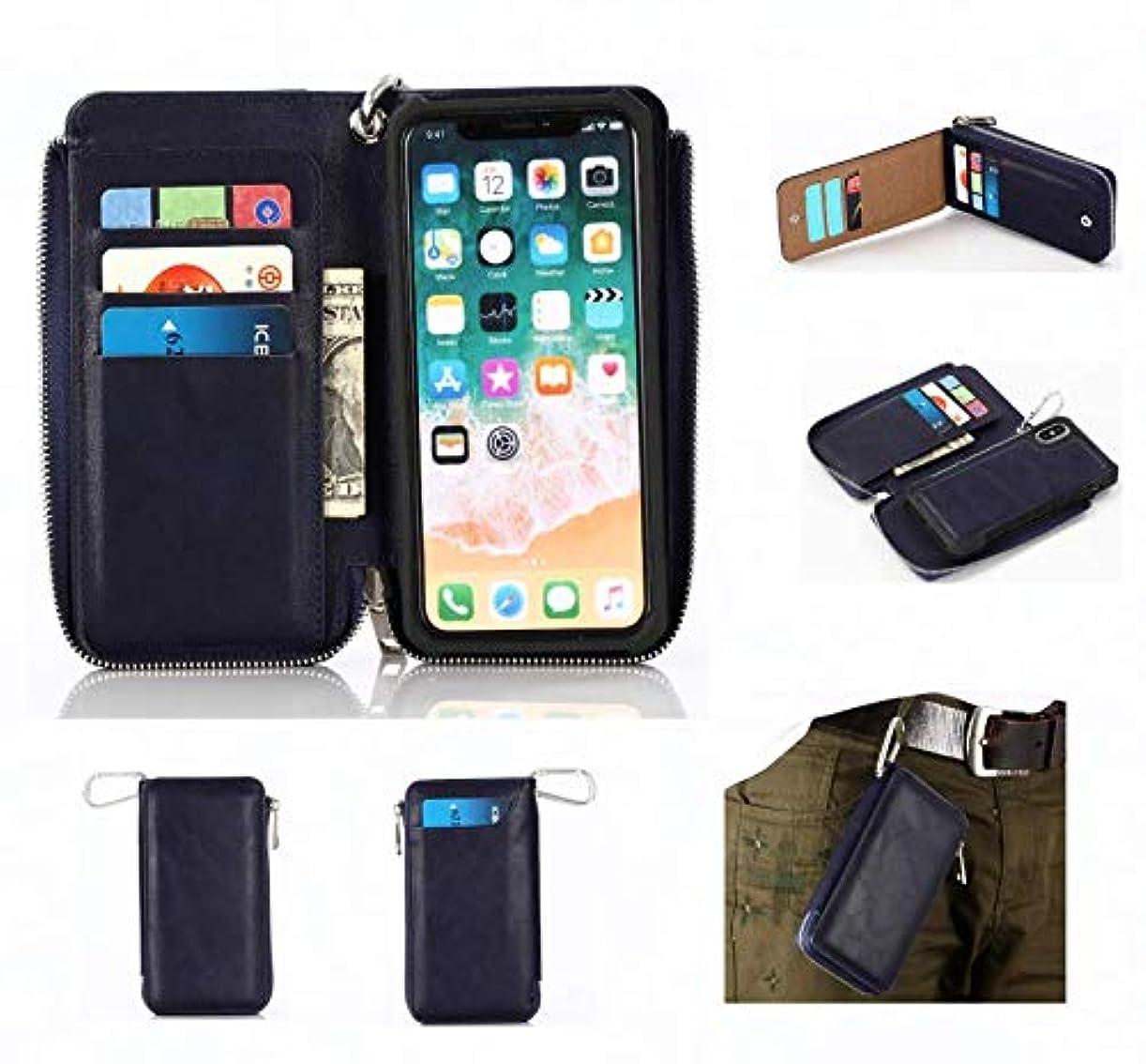 まもなくブラケット時iPhone Xジッパー財布、iPhone XS携帯ポケット、メンズベルトベルトバッグ、金属リング、10個のカードスロット、キャッシュスロット、ボタンロックポケット、取り外し可能なスリムプロテクター、磁気カーラック