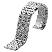 YISUYA Silver 22mm Stainless Steel Silver Tone Nine Bead Solid Links Watch Band Strap for LONGINES Watch