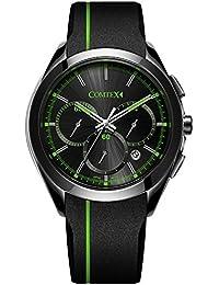 COMTEX 腕時計 メンズ シリコン スポーツ クロノグラフ ウオッチ 日本製クォーツ 時計 グリーン