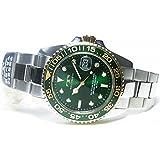 [テクノス]TECHNOS 腕時計 オールステンレス 回転ベゼル 20気圧防水 グリーン×ゴールド T2431-TG メンズ[正規輸入品]