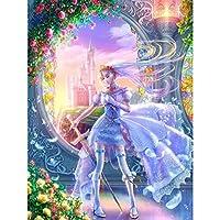5d diyダイヤモンド刺繍漫画の女の子3dフルダイヤモンド風景絵画クロスステッチ針仕事家の装飾ドリル,45x60cm